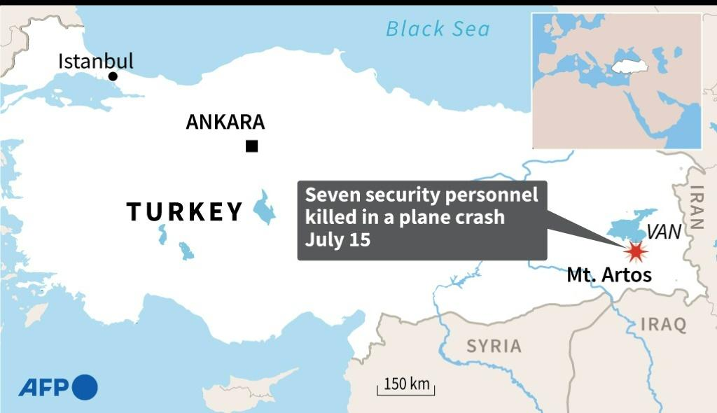 Map locating the province of Van where seven Turkish security personnel were killed in a plane crash on Wednesday.