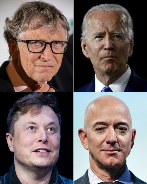 Hacked Twitter accounts included those of (L-R, top to bottom) Microsoft founder Bill Gates, Democratic presidential candidate Joe Biden, SpaceX founder Elon Musk and Amazon founder Jeff Bezos