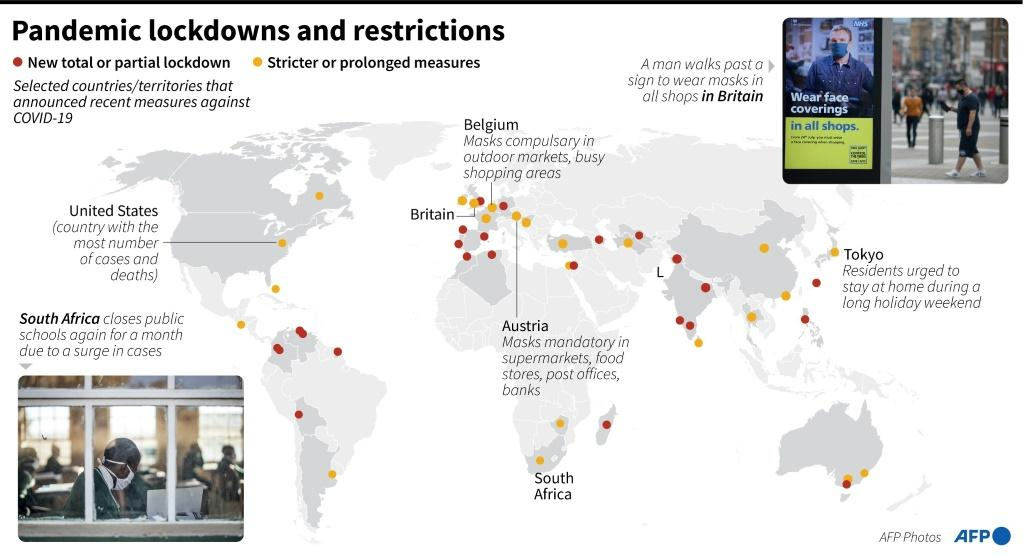 Major countries and territories which have recently adopted new measures to slow the spread of COVID-19, as of July 23.
