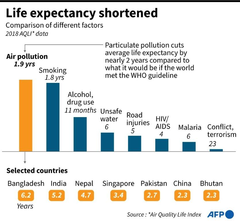 Graphic comparing the estimated erosion of average life expectancy due to different causes such as air pollution, smoking and traffic accidents.