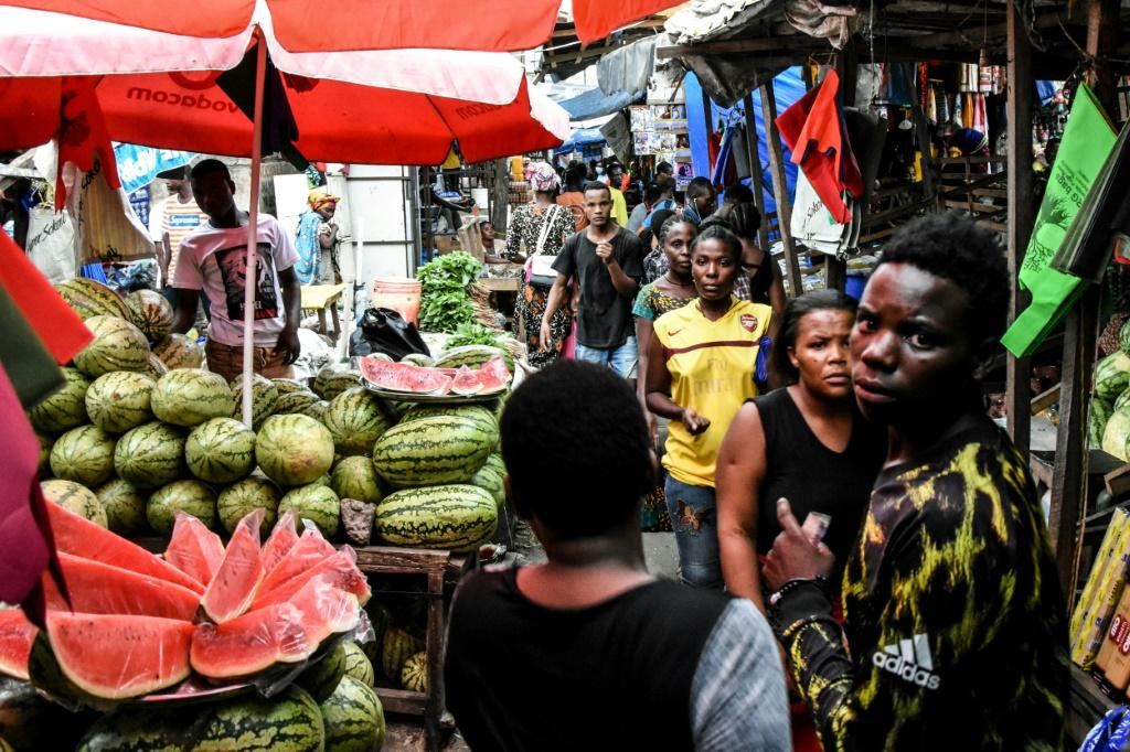 Masks and distancing not required: A market in Dar es Salaam in mid-April