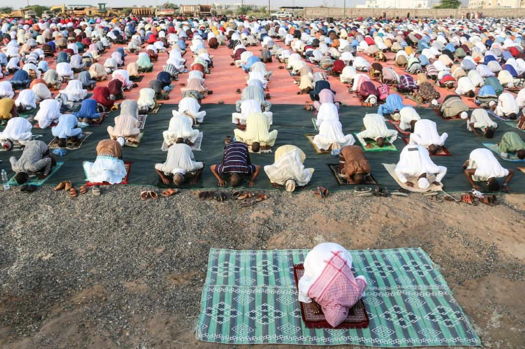 Social distancing: Muslim worshippers in Djibouti, offering prayers at Eid al-Fitr in May to mark the end of Ramadan