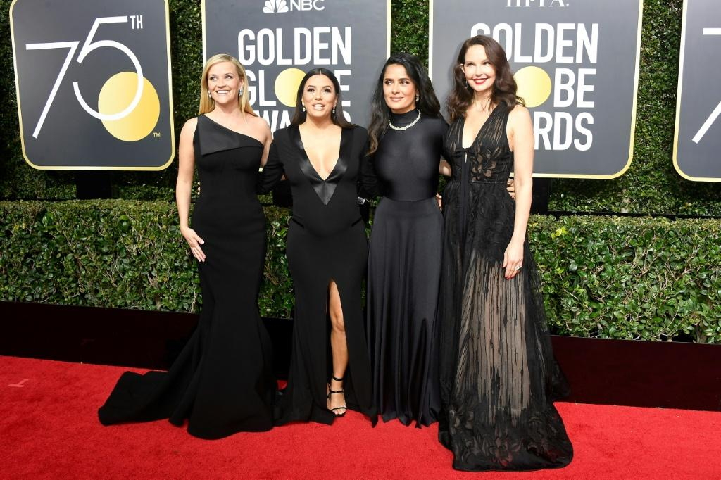 Actors Reese Witherspoon, Eva Longoria, Salma Hayek, and Ashley Judd attend The 75th Annual Golden Globe Awards at The Beverly Hilton Hotel on January 7, 2018 in Beverly Hills, California