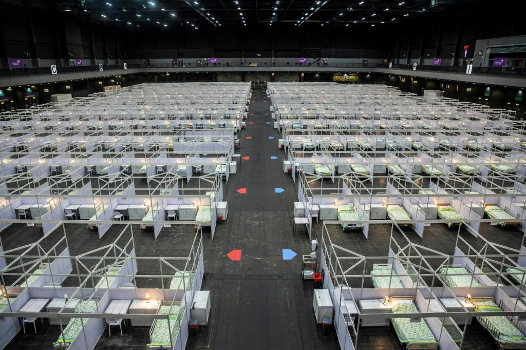 The makeshift hospital at the city's Asia World Expo exhibition centre will take in COVID-19 patients aged from 18 to 60