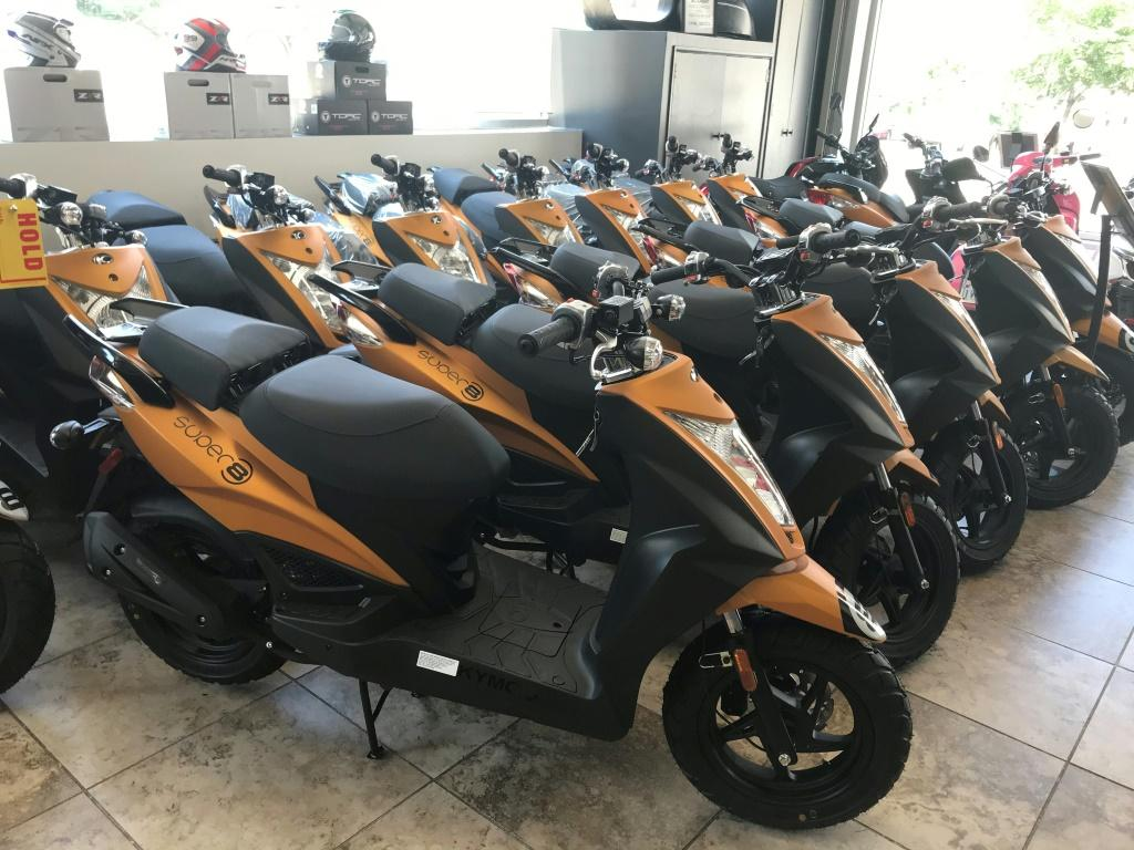 Scooters are seen in the Unik Moto shop on July 30, 2020 in Long Island City
