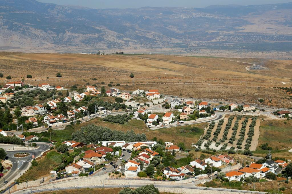 The Israeli northern town of Metula in the foreground and the Lebanese southern plain of Marjayoun