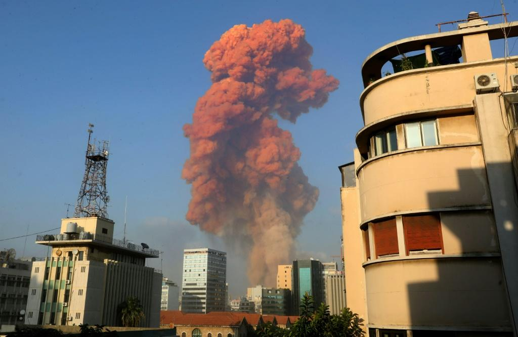 The blast in Beirut's port area sent a huge plume of smoke into the sky