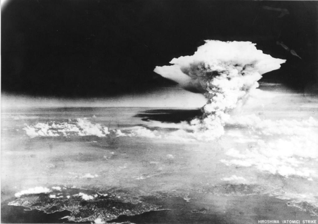 The mushroom cloud created when the atomic bomb dropped by the B-29 bomber Enola Gay exploded in the city of Hiroshima on August 6, 1945