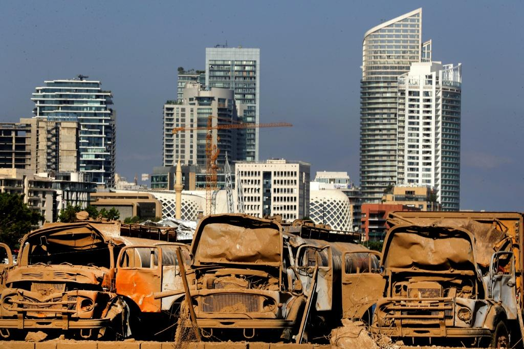 Destroyed trucks at Beirut port, three days after a massive blast devastated the Lebanese capital