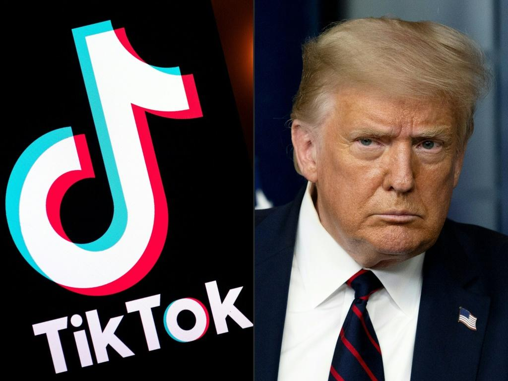 The logo of popular social media app Tiktok, and US President Donald Trump, who has ordered a ban on the Chinese-owned app in 45 days.