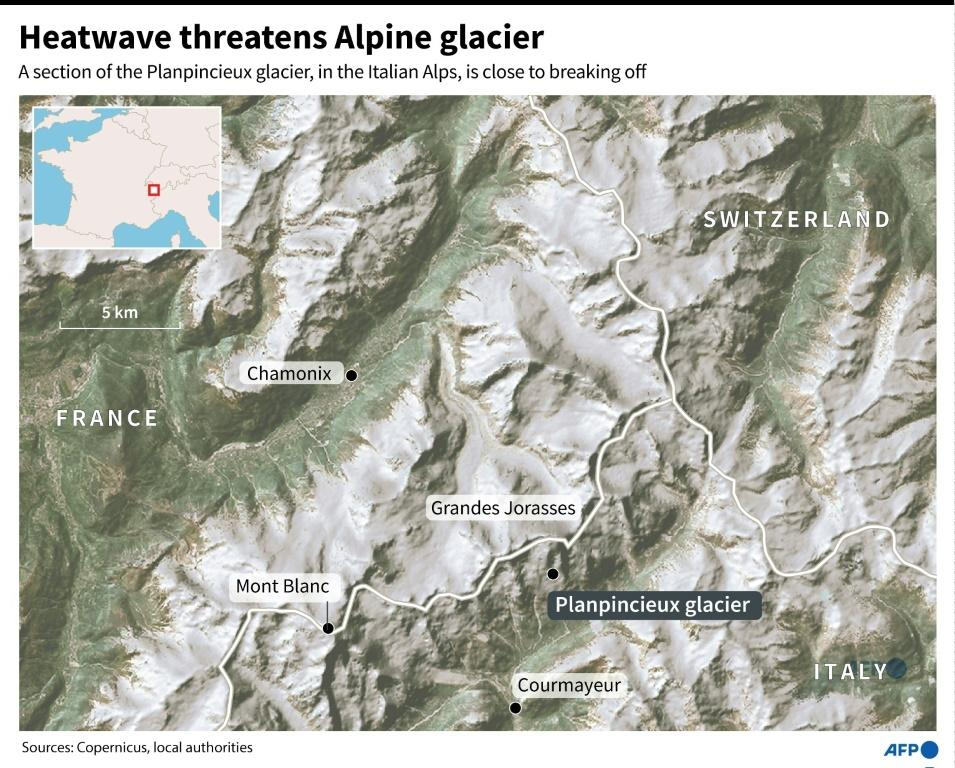 A map of the Plapincieux glacier in the Italian Alps