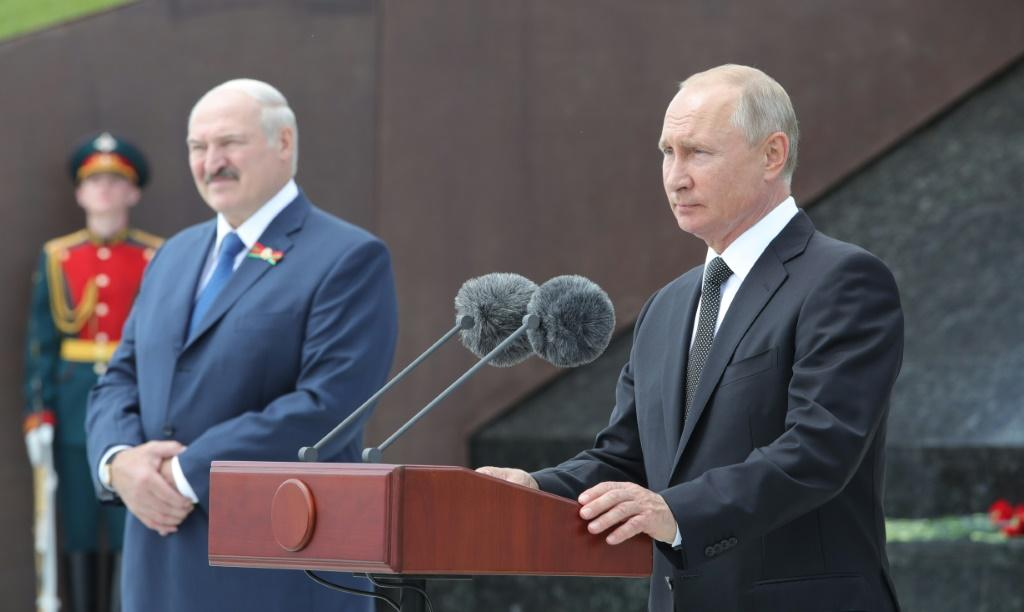 Lukashenko has maintained close ties with Moscow. He is seen here with Vladimir Putin in Russia on June 30