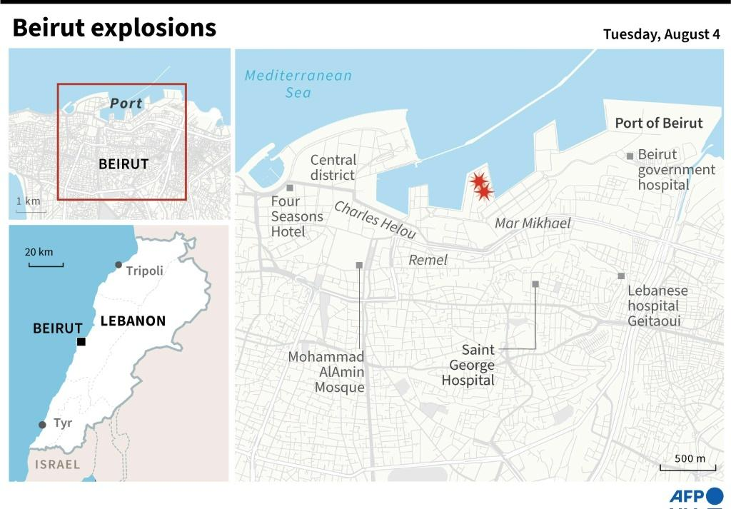 Map showing site of the Beirut explosions on Aug 4.