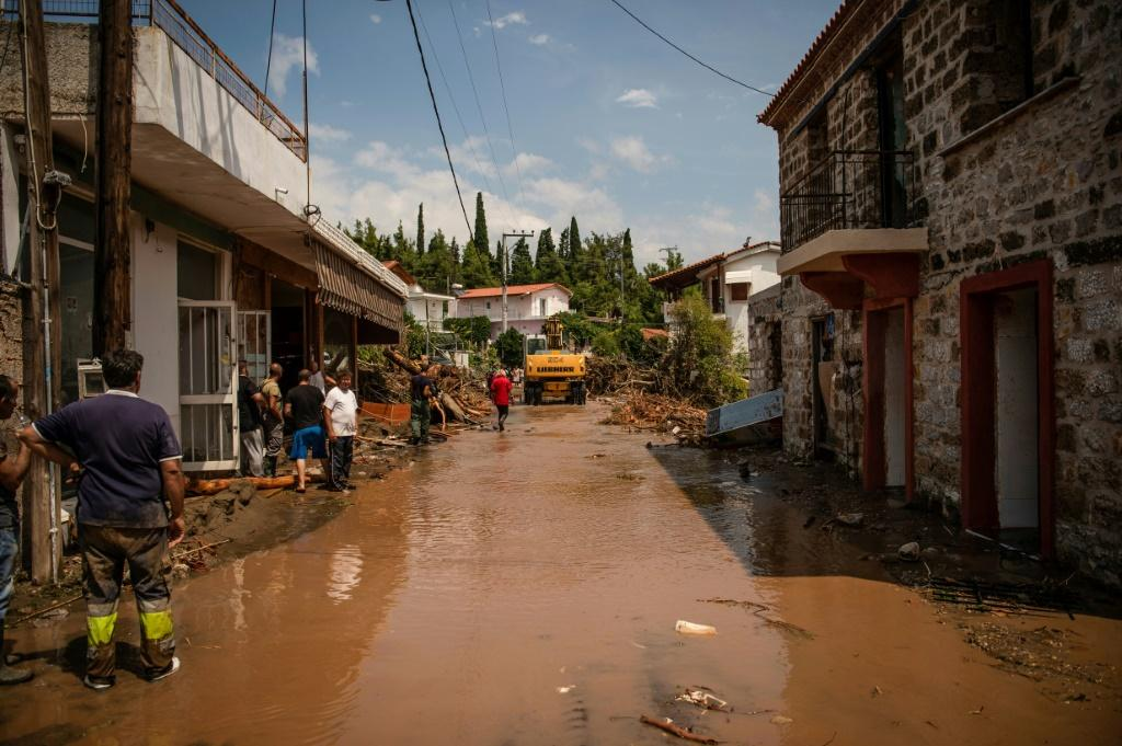 A flooded street in the village of Politika on Greece's Evia island, after torrential rains caused mass damage