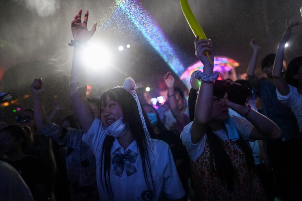 Fans at a music festival in Wuhan on 4 August