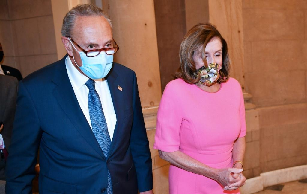 Schumer (L) and Pelosi have dismissed Trump's unilateral extension of a virus relief package