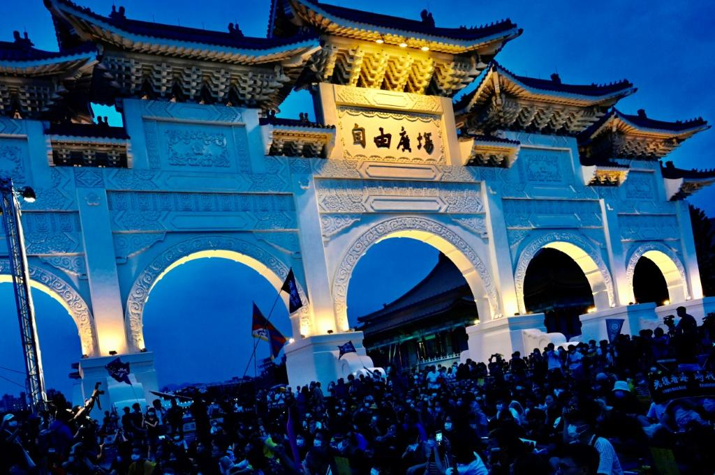 Demonstrators attend a rally to show support for Hong Kong pro-democracy protests in front of the Chiang Kai-shek Memorial Hall in Taipei, in June 2020