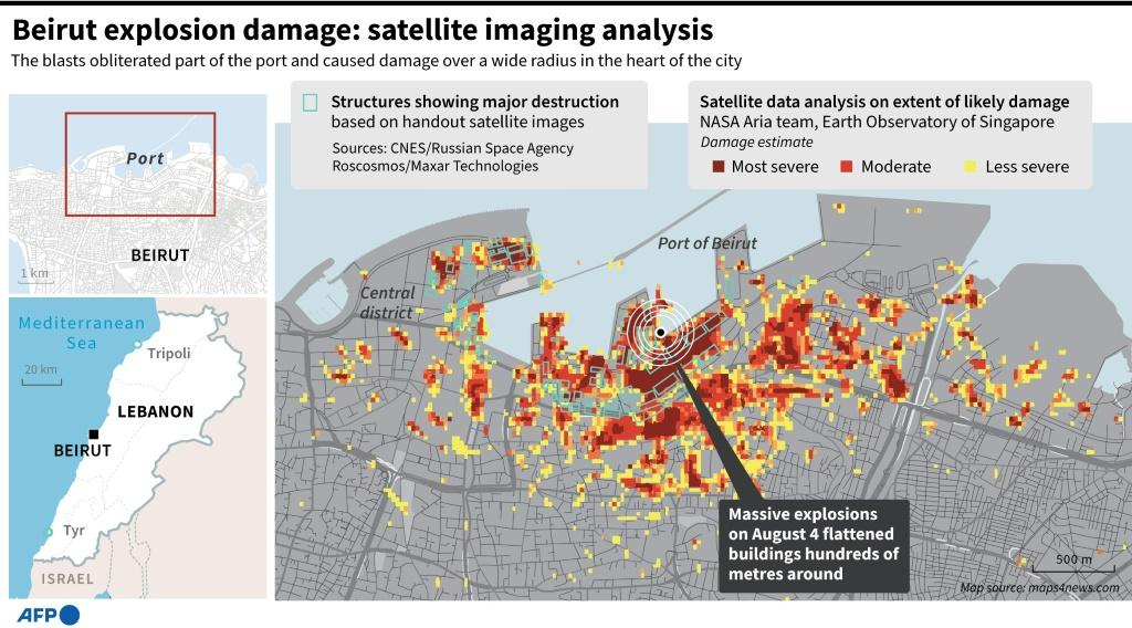 Map summarising the extent of the August 4 blast damage in Beirut, based on satellite image analysis.