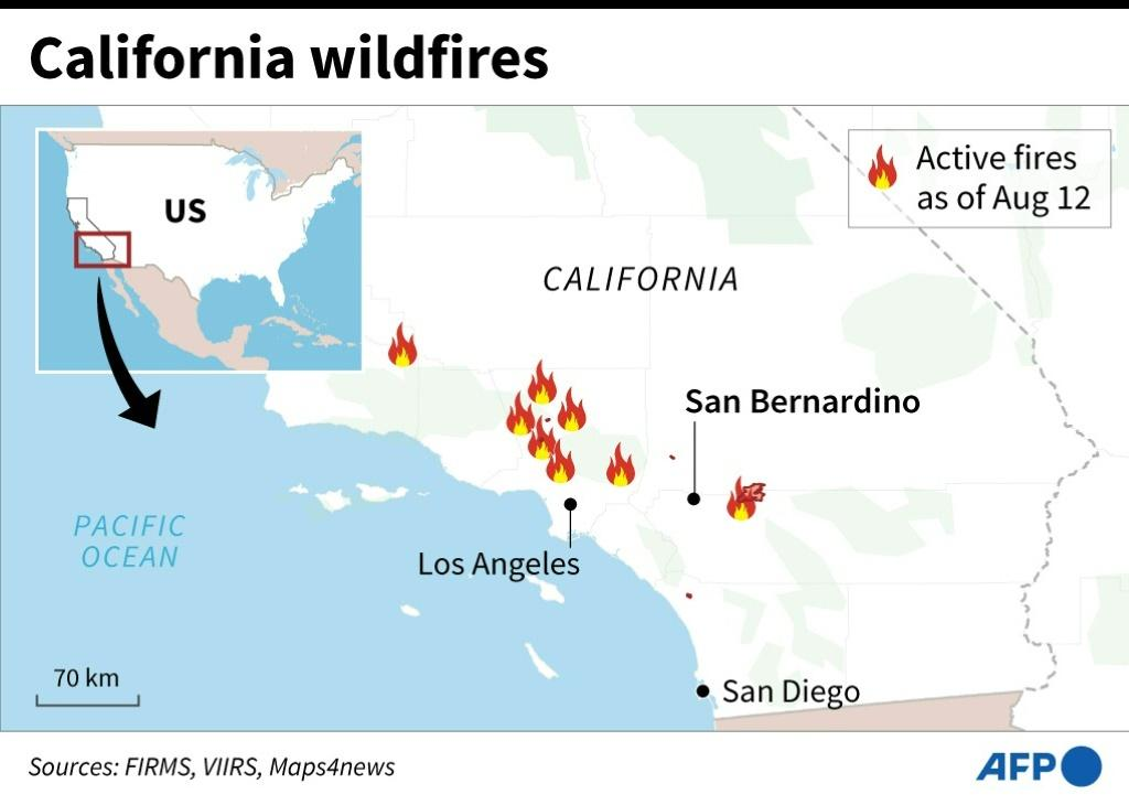 Map of California showing active wildfires as of Aug 12.