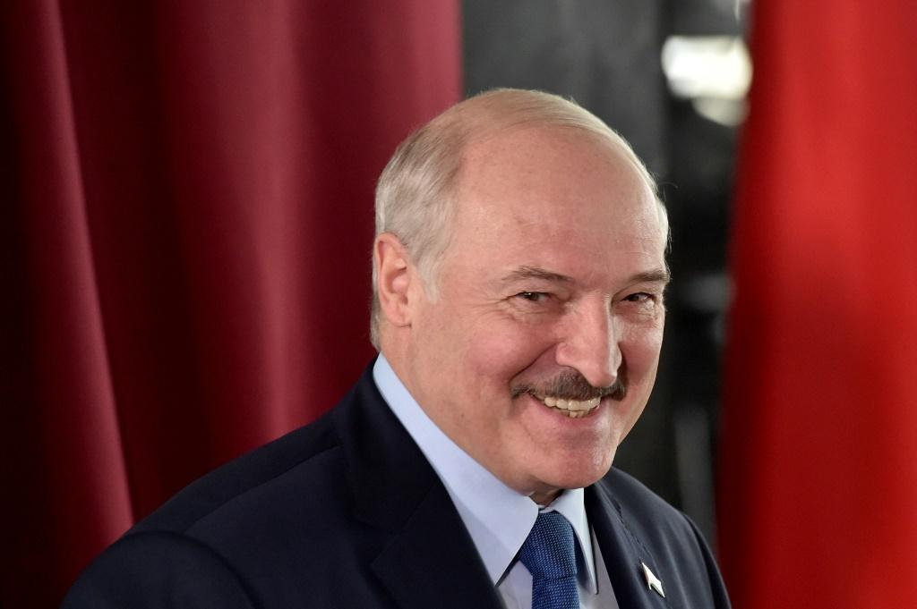 President Lukashenko at a polling station in Minsk on Sunday