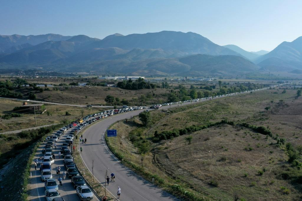 A 20-kilometre-long traffic jam formed at the Kakavia border crossing from Albania into Greece as thousands of Albanians rushed to re-enter Greece for work ahead of new virus rules