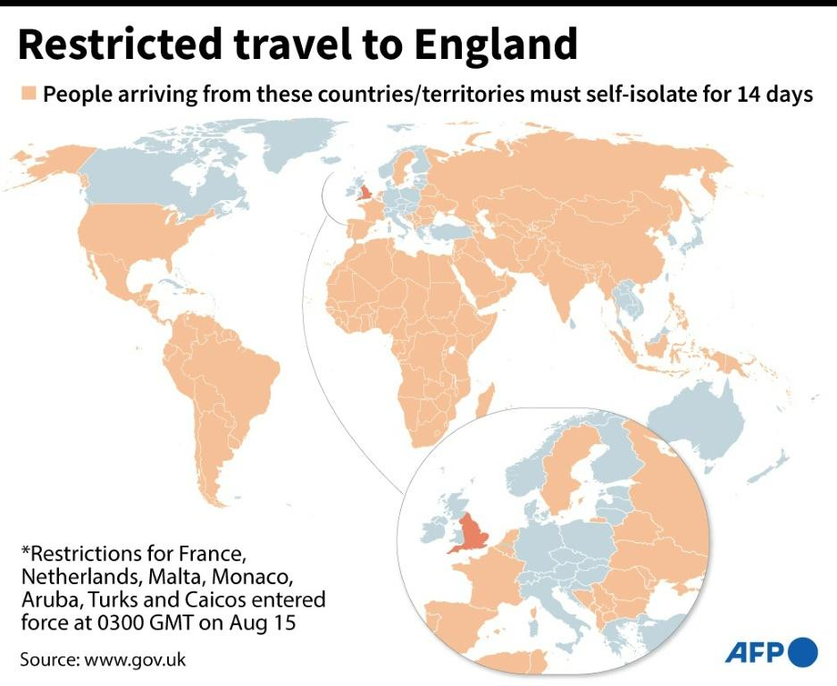 World map locating countries from where travel to England is only permitted if the person concerned self-isolates for 14 days on arrival