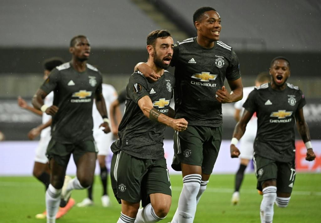 Spot on: Bruno Fernandes continued his perfect record from the penalty spot for Manchester United