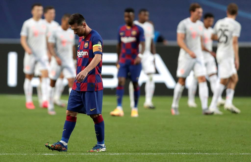 Barcelona star Lionel Messi cuts a forlorn figure during Bayern Munich's 8-2 thrashing in the Champions League quarter-final.