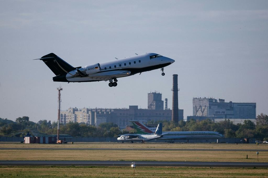 The plane took off on Saturday morning to fly Navalny to Berlin's Charite hospital for treatment