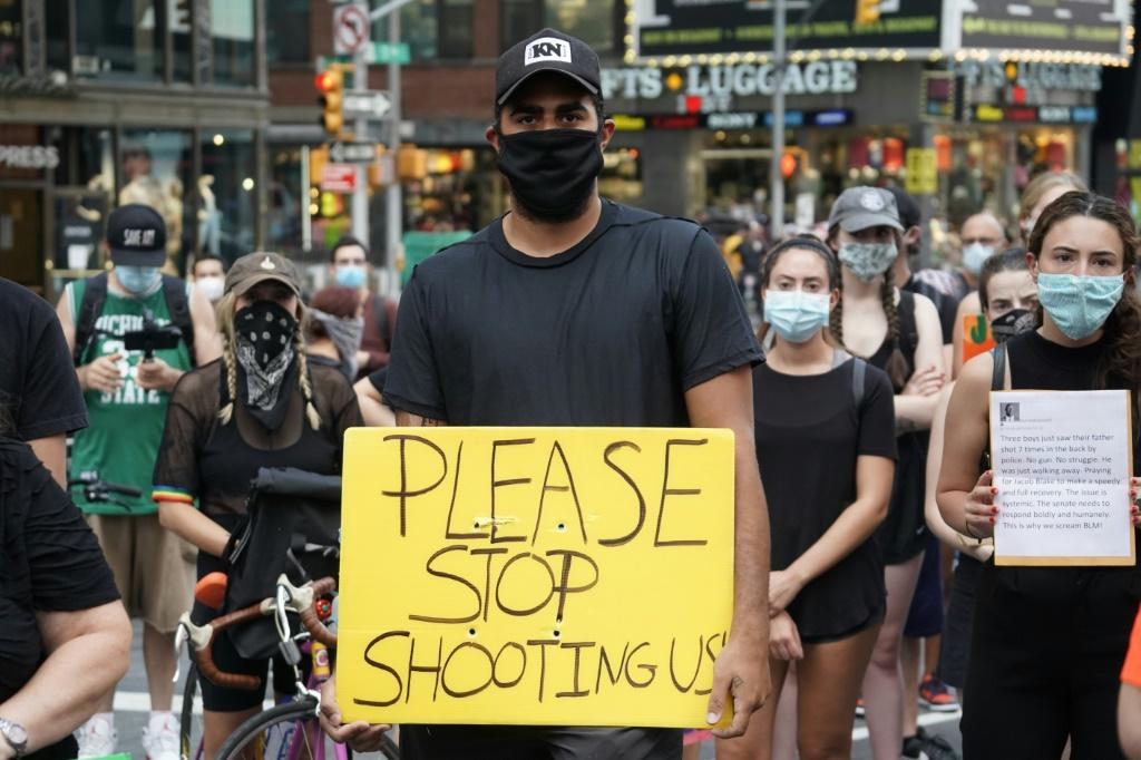 Demonstrators also marched in New York City on August 24, 2020 demanding justice for Jacob Blake, shot in the back by a white police officer
