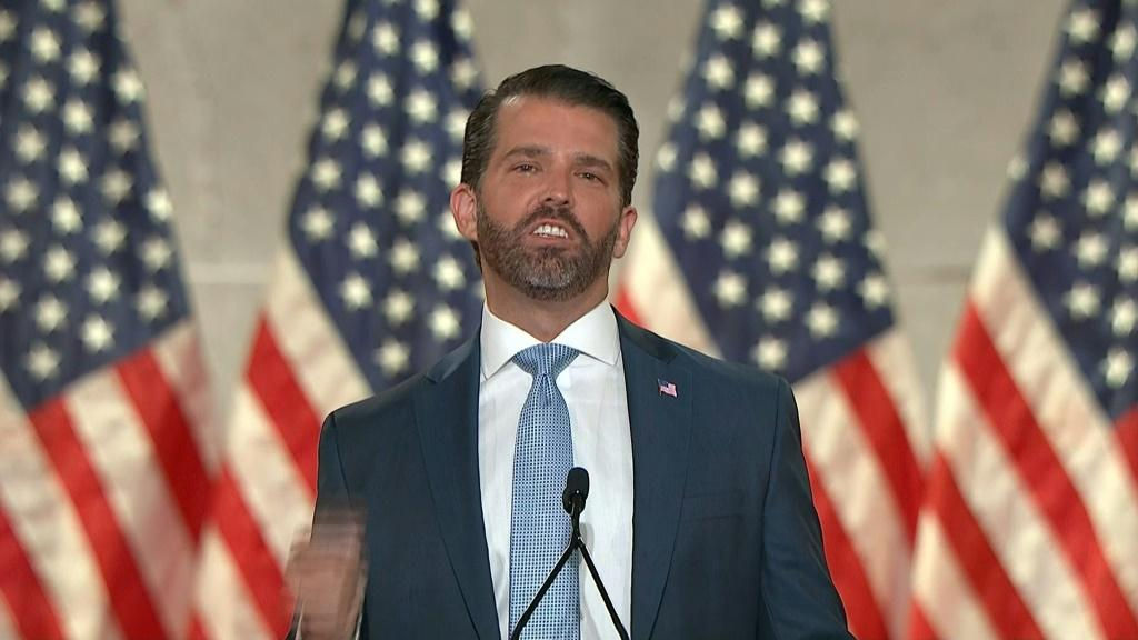 """IMAGES AND SOUNDBITES - COMPLETES VIDI1WQ3MV_ENDonald Trump Jr. says Joe Biden is the """"Loch Ness Monster of the swamp,"""" at the Republican National Convention. During his speech, the president's eldest son further attacks the Democratic nominee, calling hi"""