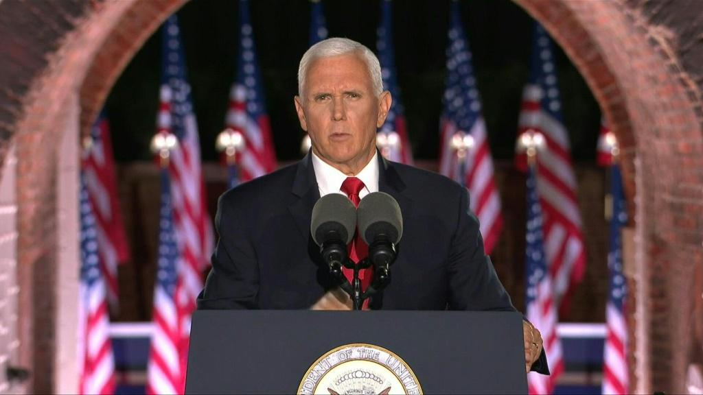 "Mike Pence takes center stage at the Republican National Convention with a speech from Fort McHenry, in Baltimore, to warn voters they ""won't be safe in Joe Biden's America"" -- and cast Trump as their pro"