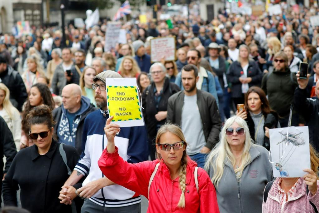 """Protesters marched down Whitehall in central London to """"expose the truth about Covid and lockdown"""