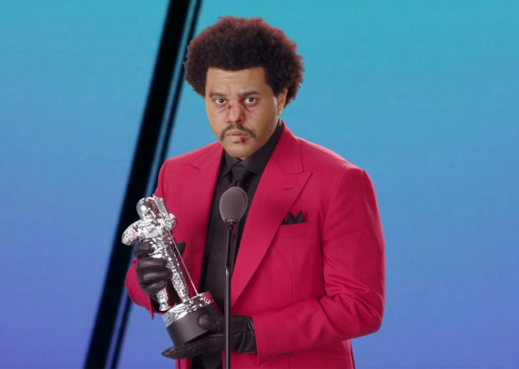 "Canadian singer-songwriter The Weeknd accepting the award for Best R&B for ""Blinding Lights"" during the 2020 MTV Video Music Awards"