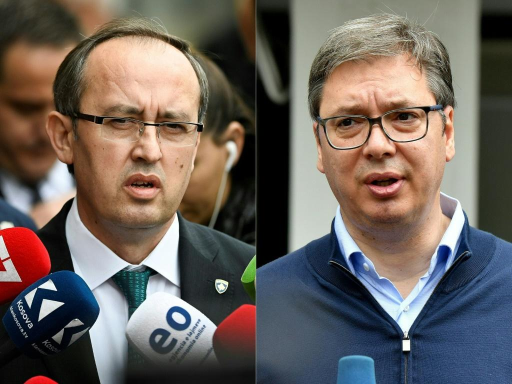 Newly elected Kosovo Prime Minister Avdullah Hoti (L) and Serbian President Aleksandar Vucic (R) are expected to sign agreements on opening economic relations after a day of talks in Washington