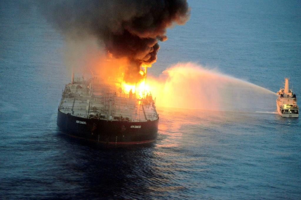 The Panamanian-registered New Diamond was carrying 270,000 tonnes of crude from Kuwait to India when the engine room exploded on Thursday killing one Filipino crew member