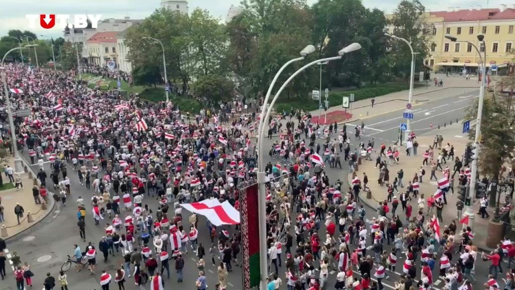 At least tens of thousands and possibly more Belarusian protesters stage a peaceful march in the capital Minsk, keeping the pressure on strongman Alexander Lukashenko who has refused to quit after his disputed re-election, turning instead to Russia for he
