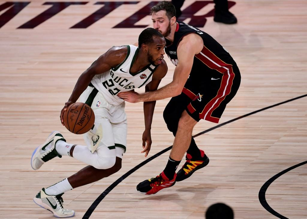 Milwaukee's Khris Middleton drives the to the basket in the Bucks' 118-115 overtime win over the Miami Heat in game four of their NBA playoff series