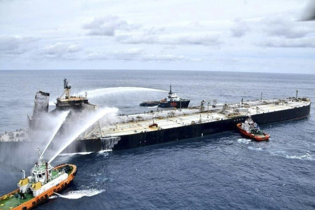 The New Diamond, a supertanker carrying 270,000 tonnes of crude oil, has been ablaze for days off the coast of Sri Lanka