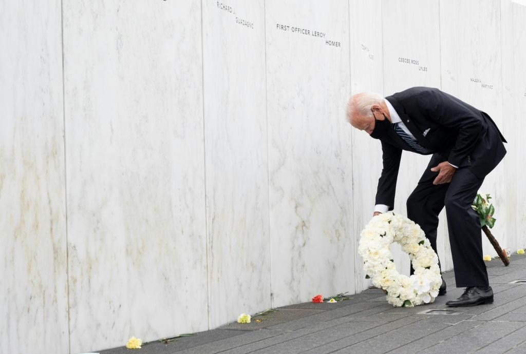 Democratic Presidential Candidate Joe Biden lays a wreath at the Shanksville Flight 93 Memorial on September 11, 2020, as the US commemorates the 19th anniversary of the 9/11 attacks