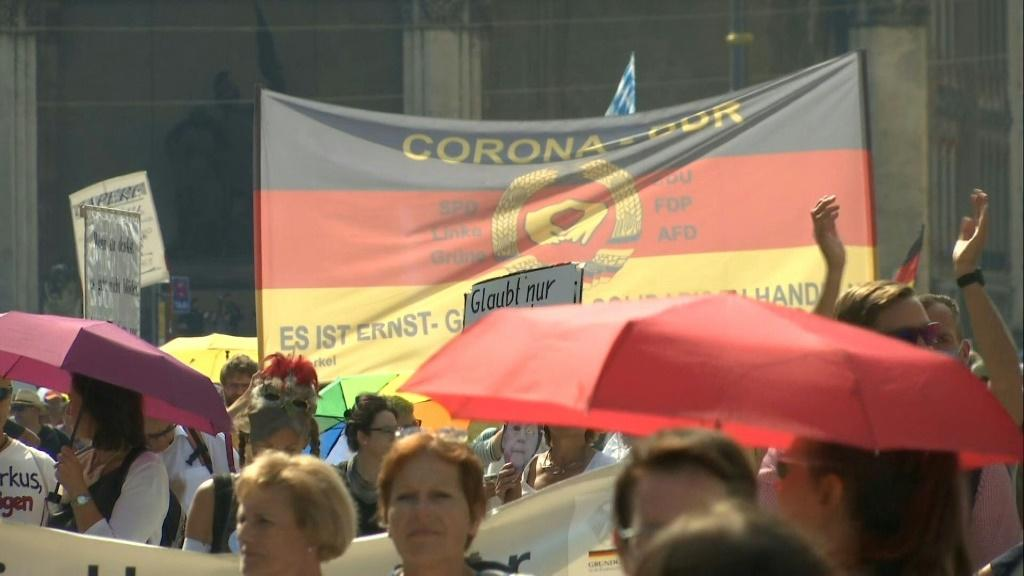 In Munich, corona skeptics gather to march against coronavirus restrictions adopted by the German authorities