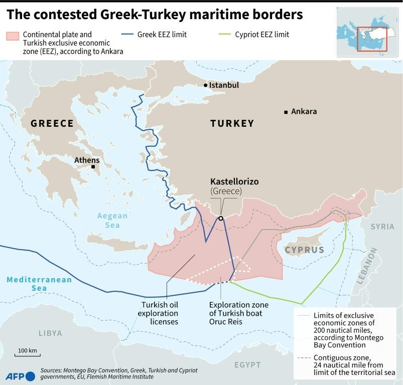 Map of eastern Mediterranean with the maritime borders claimed by Turkey, Greek and Cyprus