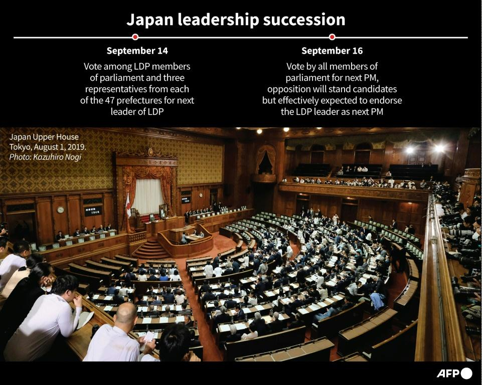 Timeline showing the expected sequence of events in the Japanese leadership succession.
