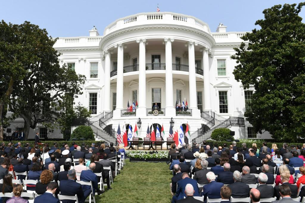 The White House South Lawn where Israel, Bahrain and the United Arab Emirates signed normalization agreements