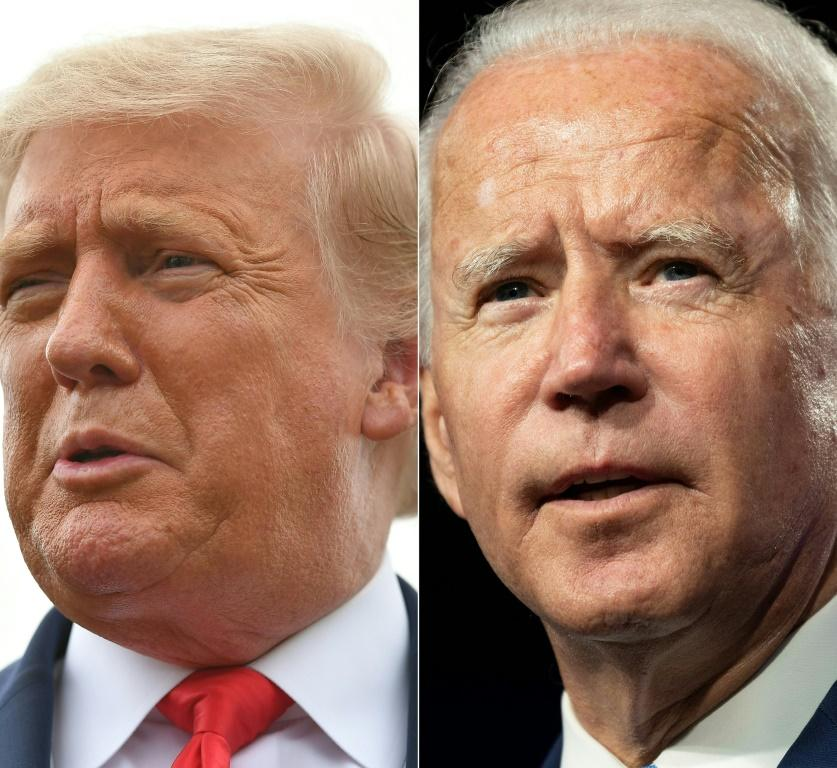 US President Donald Trump (L) has for months tried to persuade voters that Democratic opponent Joe Biden is suffering from mental decline