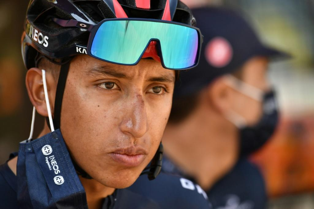Egan Bernal prepares to start Tuesday's 16th stage of the Tour de France -- it would prove to be his last effort in the 2020 edition having won last year