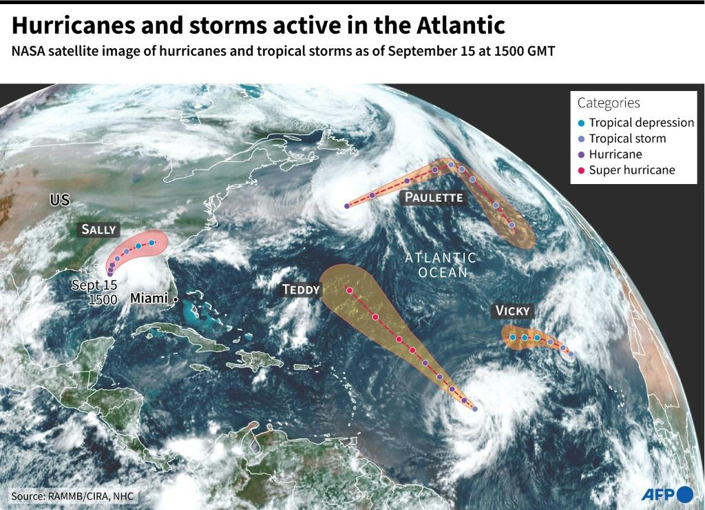 NASA satellite image of hurricanes, Sally and Teddy, and tropical storms, Paulette and Vicky, as of September 15 at 1500 GMT with forecast trajectories by the US National Hurricane Centre.