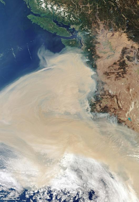 This handout image taken on September 10, 2020, from Copernicus-Sentinel-3 shows the smoke plume off the west coast of the states of Oregon, Washington and California, as fires rage across the continent