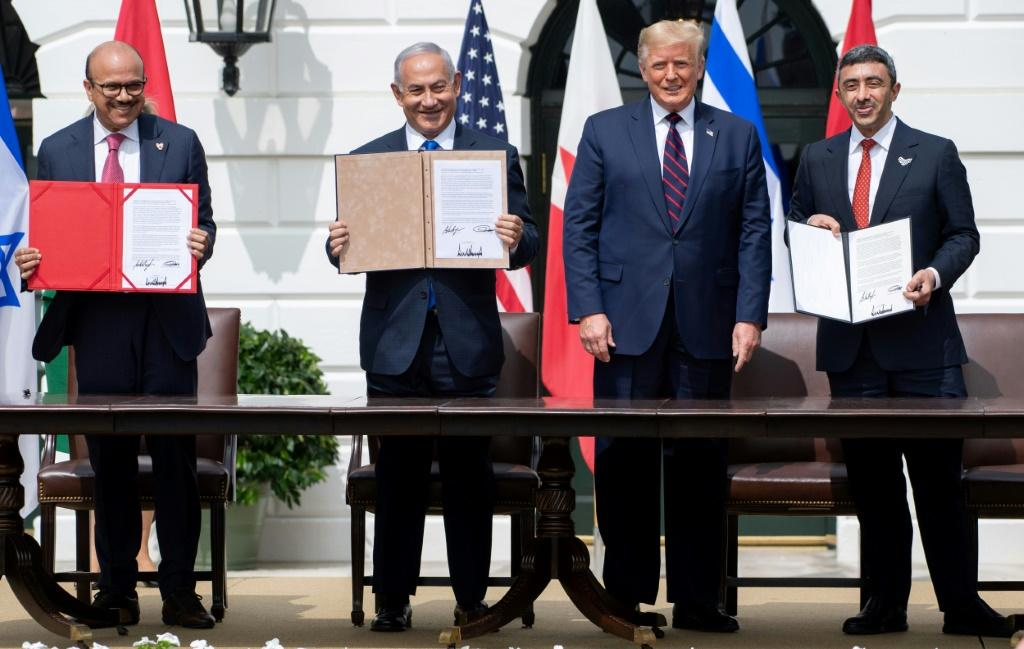 US President Donald Trump holds out the prospect of more deals between Israel and Arab governments as he hosts the signing of agreements with the Bahrain and the UAE