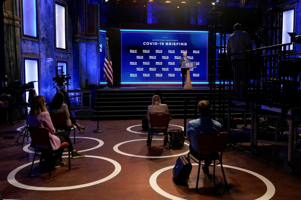 A socially distant press conference with Joe Biden in Wilmington, Delaware, on September 16, 2020